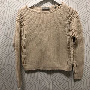 Vince Crewneck beige cable Knit sweater size M
